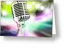 microphone on stage Greeting Card by Setsiri Silapasuwanchai