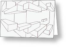 2-point Perspective Drawing Greeting Card by Gregory Dean