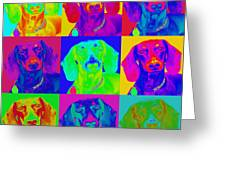 Pop Art Dachshund Greeting Card by Renae Laughner