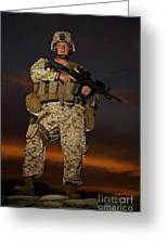 Portrait Of A U.s. Marine In Uniform Greeting Card by Terry Moore