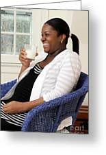 Pregnant Woman Drinking Milk Greeting Card by Photo Researchers