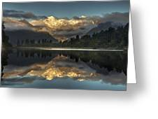 Sunset Reflection Of Lake Matheson Greeting Card by Colin Monteath