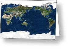 Whole Earth, Satellite Image Greeting Card by Planetobserver