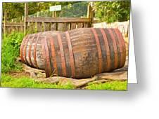 Wooden Barrels Greeting Card by Tom Gowanlock