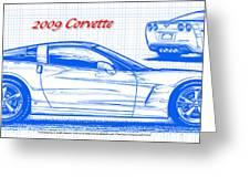 2009 C6 Corvette Blueprint Greeting Card by K Scott Teeters
