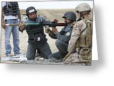 An Afghan Police Student Loads A Rpg-7 Greeting Card by Terry Moore