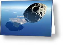 Asteroid Approaching Earth Greeting Card by Detlev Van Ravenswaay