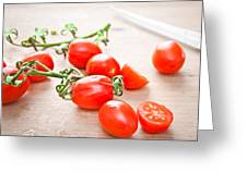 Cherry Tomatoes Greeting Card by Tom Gowanlock