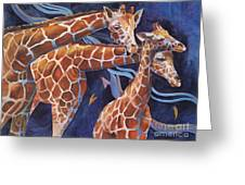 3 Giraffes      Heads Up Greeting Card by Reveille Kennedy