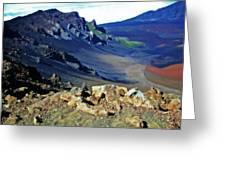 Haleakala Crater In Maui Hawaii Greeting Card by Sheila Kay McIntyre