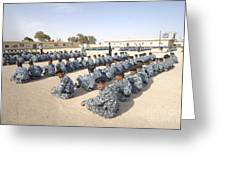 Iraqi Police Cadets Being Trained Greeting Card by Andrew Chittock
