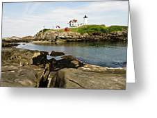 Nubble Lighthouse Greeting Card by Warren Carrington