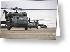 Uh-60 Black Hawks Taxis Greeting Card by Terry Moore