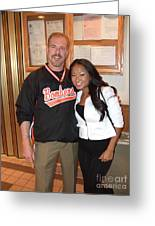 Womans World Champion Wrestler Gail Kim And Myself Greeting Card by Jim Fitzpatrick