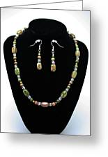 3565 Unakite Necklace And Earrings Set Greeting Card by Teresa Mucha