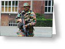 A Paratrooper Of The Belgian Army Greeting Card by Luc De Jaeger
