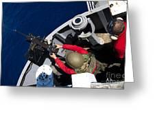 A Sailor Fires A .50-caliber Machine Greeting Card by Stocktrek Images
