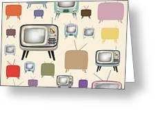 retro TV pattern  Greeting Card by Setsiri Silapasuwanchai