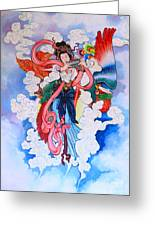 tradition Chinese painting on wall Greeting Card by Phalakon Jaisangat