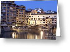 Vecchio Bridge Greeting Card by Andre Goncalves