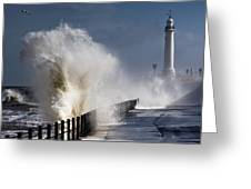 Waves Crashing By Lighthouse At Greeting Card by John Short