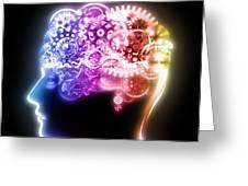 brain design by cogs and gears Greeting Card by Setsiri Silapasuwanchai
