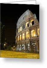 Coliseum Illuminated At Night. Rome Greeting Card by Bernard Jaubert