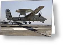 An E-2c Hawkeye Lands Aboard Greeting Card by Stocktrek Images