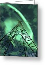 Powerlines And Aurora Borealis Greeting Card by Arild Heitmann