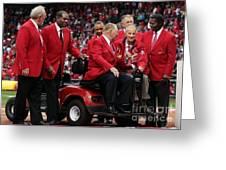 7 Cardinal Hall Of Famers Greeting Card by Barbara Plattenburg