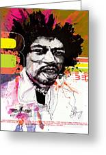 Jimi 333 Greeting Card by Bobby LeVangie