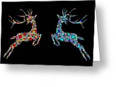 Reindeer Design By Snowflakes Greeting Card by Setsiri Silapasuwanchai