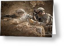 U.s. Army Rangers In Afghanistan Combat Greeting Card by Tom Weber