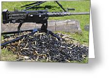 A .50 Caliber Browning Machine Gun Greeting Card by Andrew Chittock