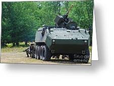 A Belgian Army Piranha IIic With The Fn Greeting Card by Luc De Jaeger