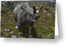 A Brontotherium Leaves His Forest Greeting Card by Walter Myers