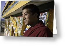 A Buddhist Monk Near The Edge Greeting Card by David Evans