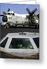 A C-2a Greyhound Prepares For Launch Greeting Card by Stocktrek Images