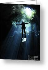A Cavern Diver Ascends In The Cenote Greeting Card by Karen Doody