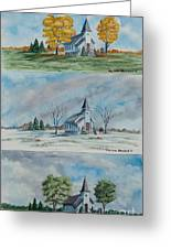 A Church For All Seasons Greeting Card by Charlotte Blanchard
