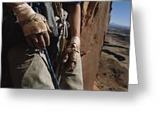 A Close View Of Rock Climber Becky Greeting Card by Bill Hatcher