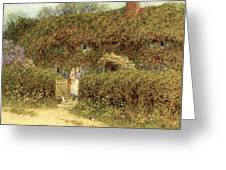 A Cottage At Freshwater Isle Of Wight Greeting Card by Helen Allingham