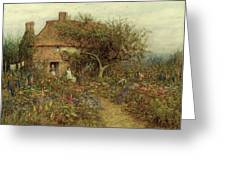 A Cottage Near Brook Witley Surrey Greeting Card by Helen Allingham