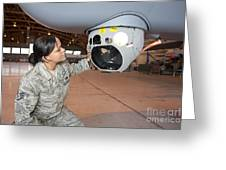 A Crew Chief Works On Mq-9 Reapers Greeting Card by HIGH-G Productions