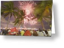 A Crowd Gathered On New Years Eve Greeting Card by Mike Theiss