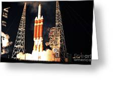 A Delta Iv Heavy Rocket Lifts Off Greeting Card by Stocktrek Images