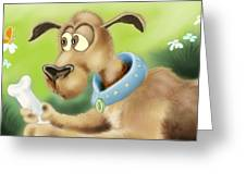 A Dog And His Bone Greeting Card by Hank Nunes
