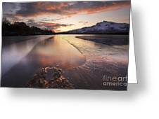 A Frozen Straumen Lake On Tjeldoya Greeting Card by Arild Heitmann