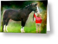 A Girl And Her Horse Greeting Card by Davandra Cribbie