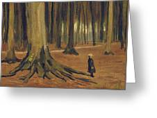 A Girl In A Wood Greeting Card by Vincent van Gogh